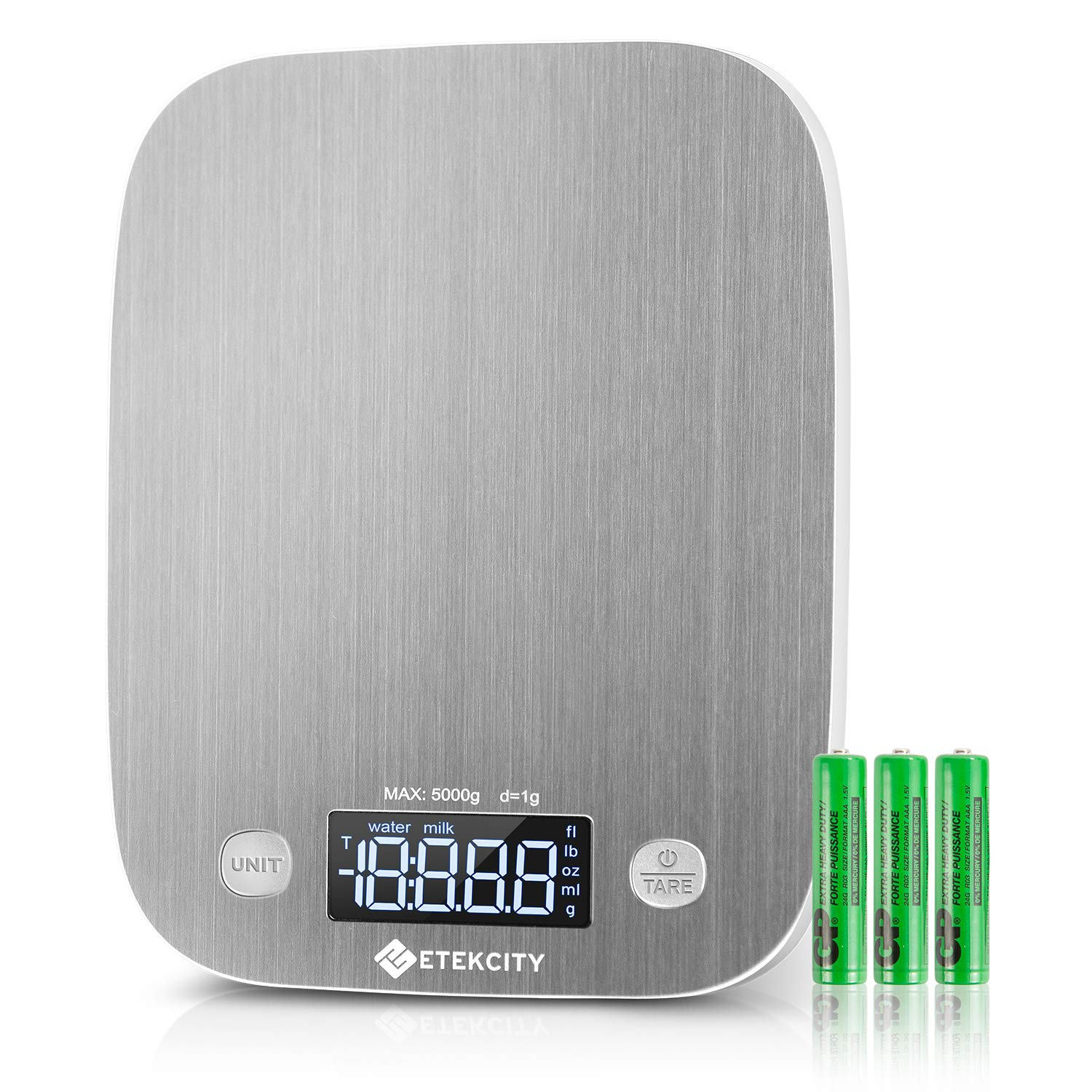Etekcity Kitchen Food Scale Digital Weight Grams and Oz, LED Backlit Display (AAA Battery), Stainless Steel, Silver