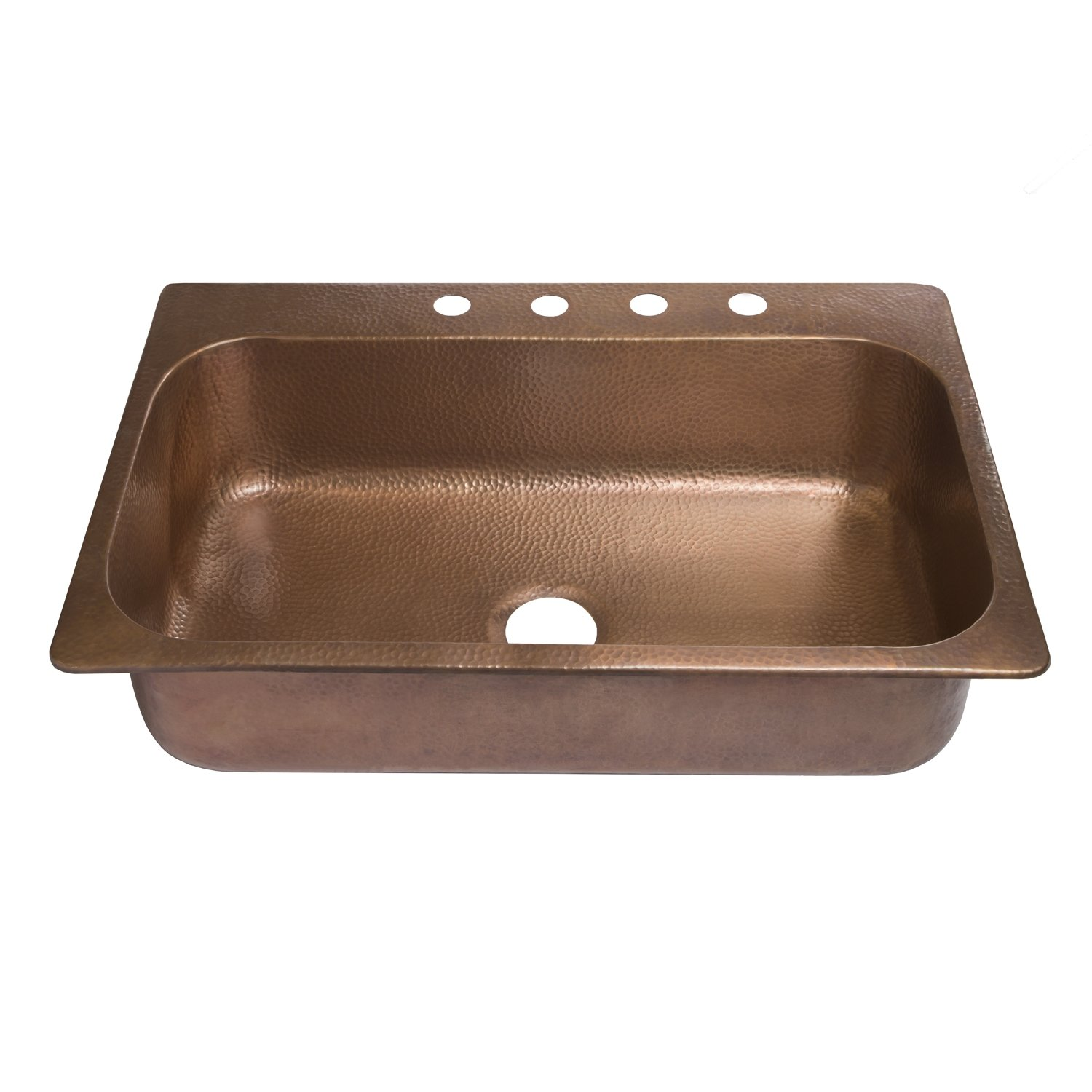 33 X 22 X 8 Antique Copper Sinkology SK101-33AC4-WG-B  Angelico 4-Hole Copper Drop-In Kitchen Sink Kit With Roe Bottom Grid And Strainer Drain Copper Kitchen Sink