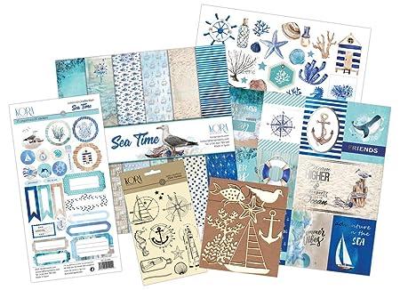Kit scrapbooking - Sea Time (tarjetas en INGLÉS): Amazon.es: Hogar