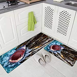 """Musesh 2 Pieces Kitchen Rugs and Mats Non Skid Washable White Shark with Open Mouth Out of The Water Cliffs and Waves Sea Kitchen Rug Set 17""""X48""""+17""""X24"""" Kitchen Carpets and Rugs Modern Kitchen Rug"""