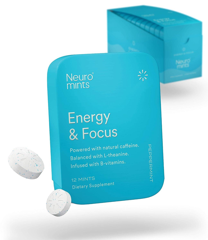 Neuro Mints Nootropic Energy Mints | Caffeine + L-theanine + B Vitamins | Sugar Free + Gluten free + Vegan (12 Pack = 144 Pieces, Mint)