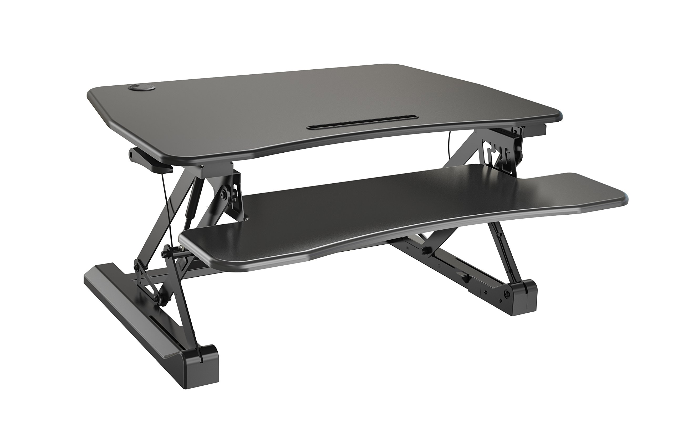 Zeal Height Adjustable Standing Desk Ergonomic Laptop Monitor Standing Dual Riser Sit to Stand Table Computer Workstation Desk (Black) by Zealdesk (Image #1)