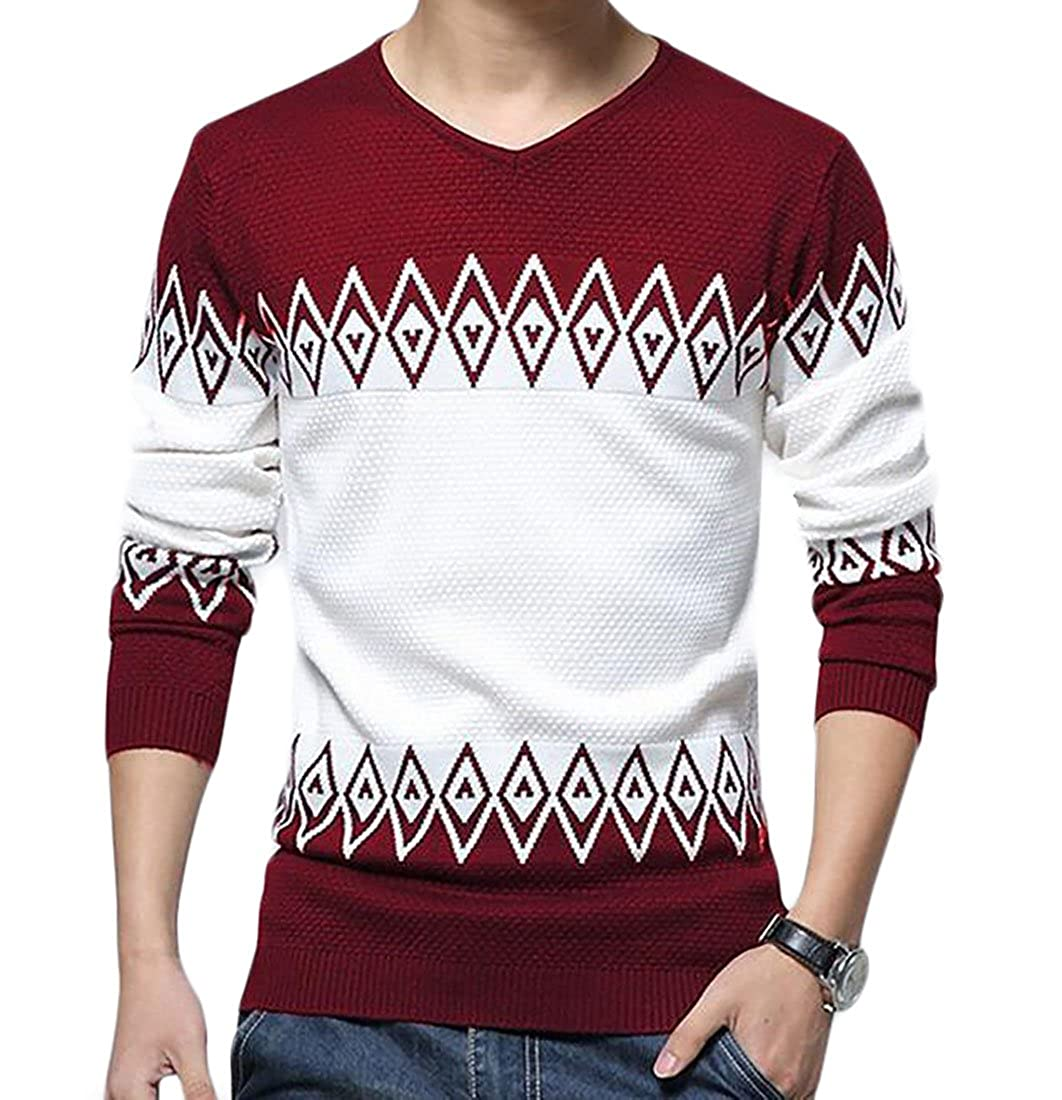 Esast Mens Fashion Long Sleeve V-neck Printing Casual Loose Knitted Pullover Sweaters