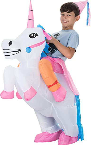 TOLOCO Inflatable Unicorn Rider Costume Inflatable Costumes For Adults or Kid Halloween Costume Blow Up Costume