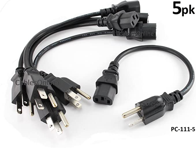 C13//5-15P , eDragon Power Cord Cable w// 3 Conductor 14AWG PC Power Connector Socket 4 Pack 2 Feet//0.6 Meters Black