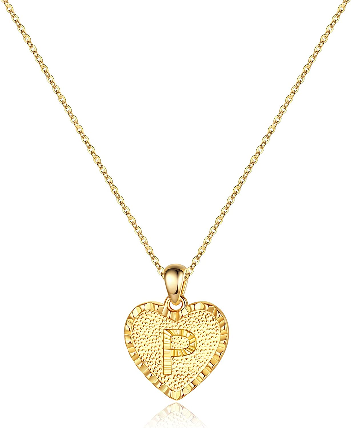 14K Gold Filled Dainty Heart Pendant Initial Letter Necklaces Handmade Engraved Alphabet Monogram Necklaces Jewelry Gift Idea for Women Teen Girls IEFSHINY Heart Initial Necklace for Women