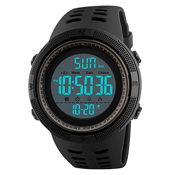 20b26ae6c8 Mens Digital Sport Watch, Military Waterproof Watches Fashion Army  Electronic Casual Wristwatch with Luminous Calendar Stopwatch Alarm LED