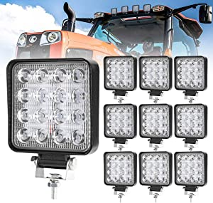 10 Pcs LED Work Light - 4 Inch Flood LED Light Bar for Offroad Truck Trator Jeep ATV UTV Golf cart Boat - Driving Lamp Daytime Running Light
