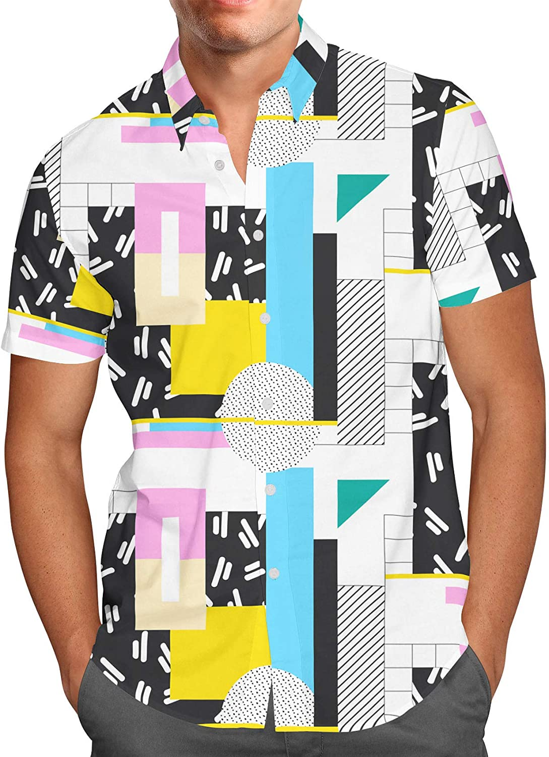 Love The 80s Mens Button Down Short Sleeve Shirt