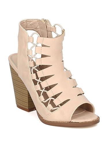 3e778459bc4 Women Leatherette Peep Toe Caged Chunky Heel Sandal GG99 - Bone (Size  6.5)