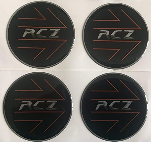 PEUGEOT RCZ COUPE ALLOY WHEEL DOMED RESIN CENTRE CAP STICKERS X4 60mm BLACK SIL