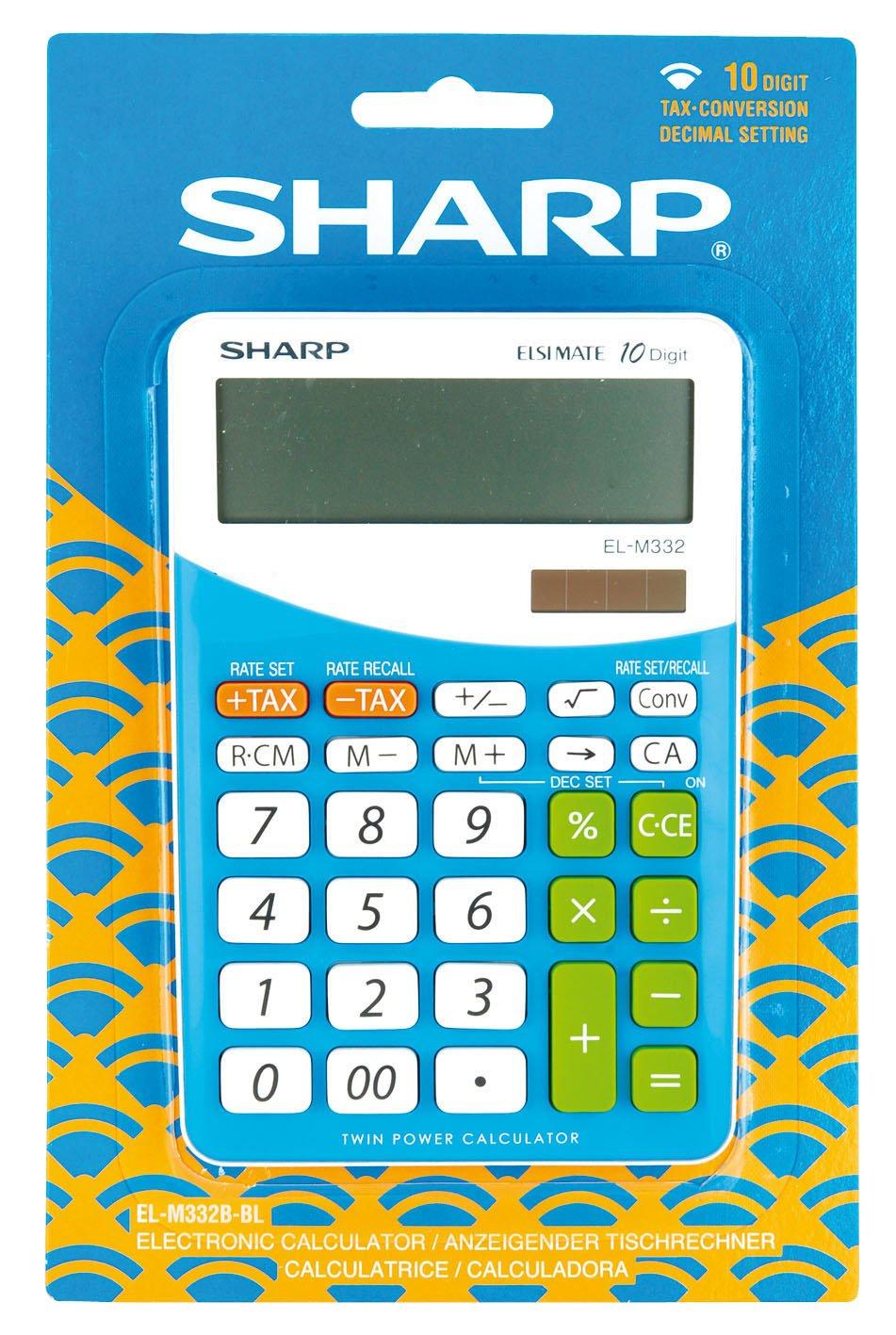 Imo 10 Digit Twin Power Blue Calculator New Eol Sharp Electronics - Eol ELM332BBL Desk Accessories