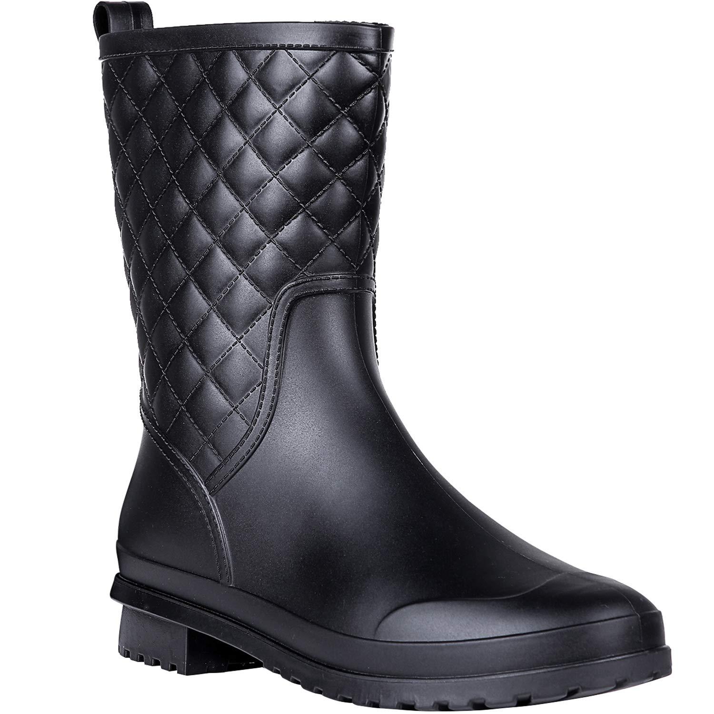 Litfun Womens Black Mid Calf Rain Boots Outdoor Work Waterproof Garden Booties Wide Calf Rain Shoes by Litfun