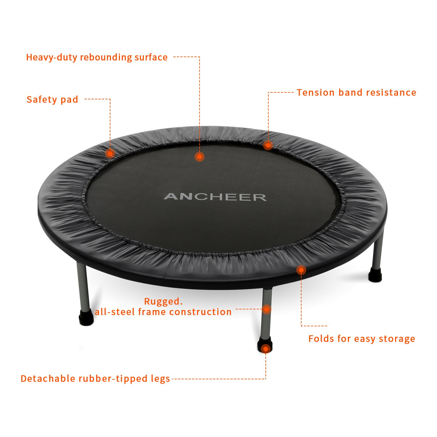 ANCHEER Max Load 220lbs Rebounder Trampoline with Safety Pad for Indoor Garden Workout Cardio Training (2 Sizes: 38 inch / 40 inch, Two Modes: Folding/Not Folding) (Red, 40inch - Folding one time) by ANCHEER (Image #4)