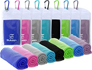 "Sukeen [8 Pack] Cooling Towel (40""x12""),Ice Towel,Soft Breathable Chilly Towel,Microfiber Towel for Yoga,Sport,Running,Gym,Workout,Camping,Fitness,Workout & More Activities"