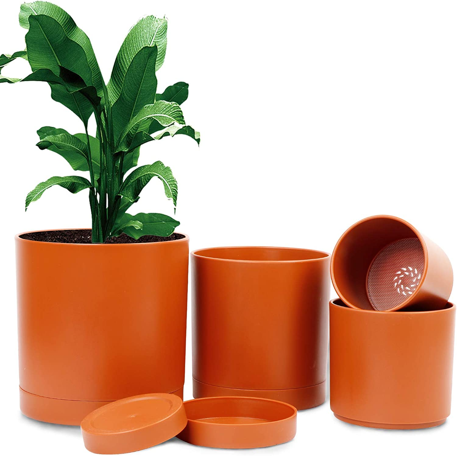 Ourwarm Plant Pots for Plants,Set of 4 Terracotta Pots,4/5/6/7 inch Modern Indoor and Outdoor Plastic Planter Flower Pot for Office Decor and Patio Garden,Planters with Drainage Hole and Saucer Tray