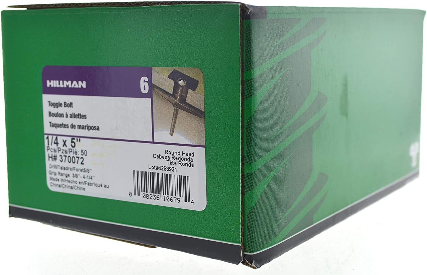 50-Pack 1//8X3-Inch The Hillman Group 370042 Toggle Bolt 2