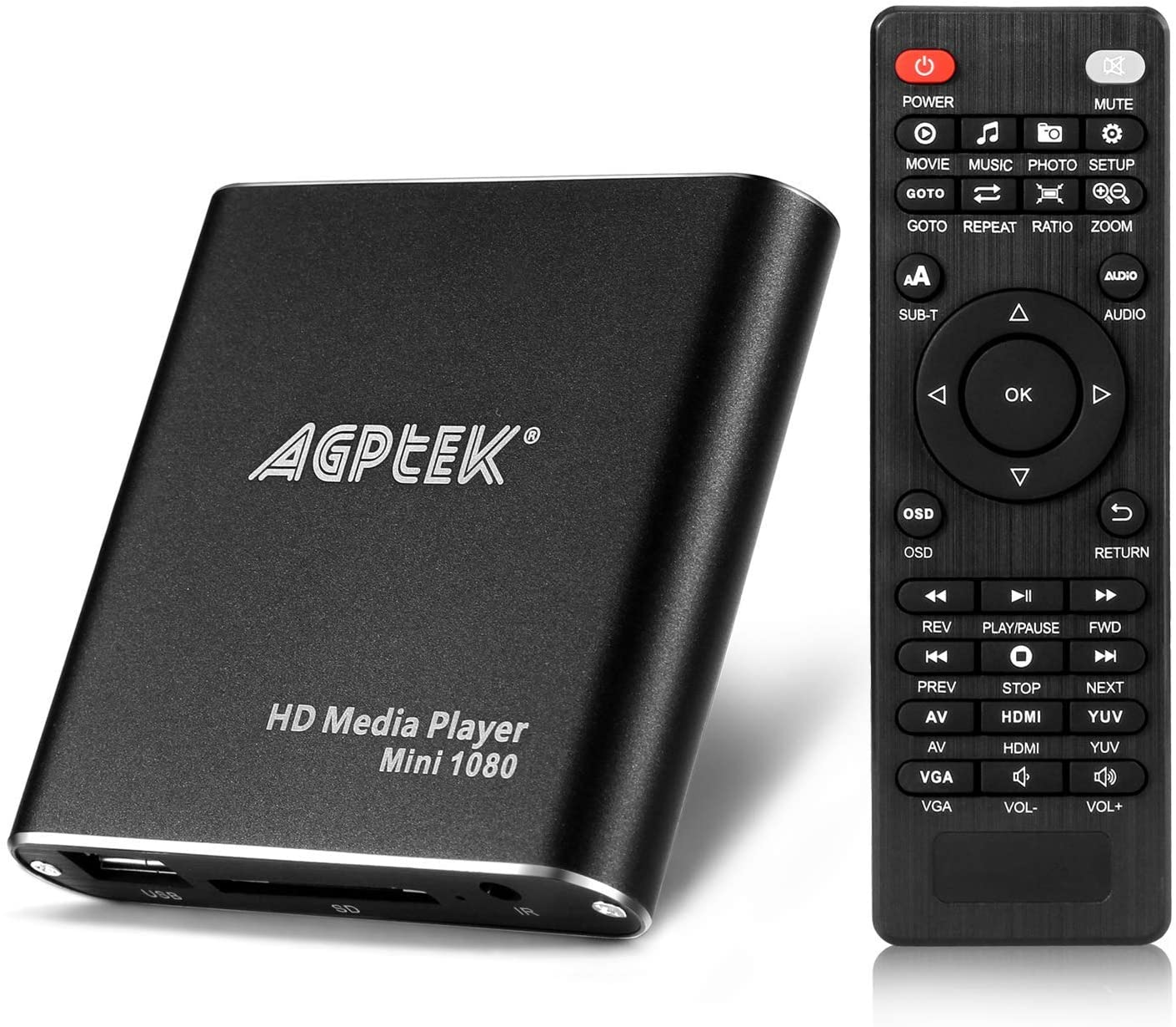 HDMI Media Player, Black Mini 1080p Full-HD Ultra HDMI Digital Media Player for -MKV/RM- HDD USB Drives and SD Cards