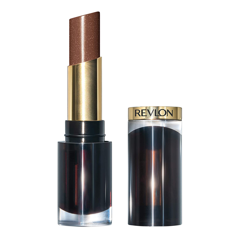 Revlon Super Lustrous Glass Shine Lipstick, Moisturizing Lipstick with Aloe and Rose Quartz in Brown, 006 Sparkling Honey, 0.15 oz
