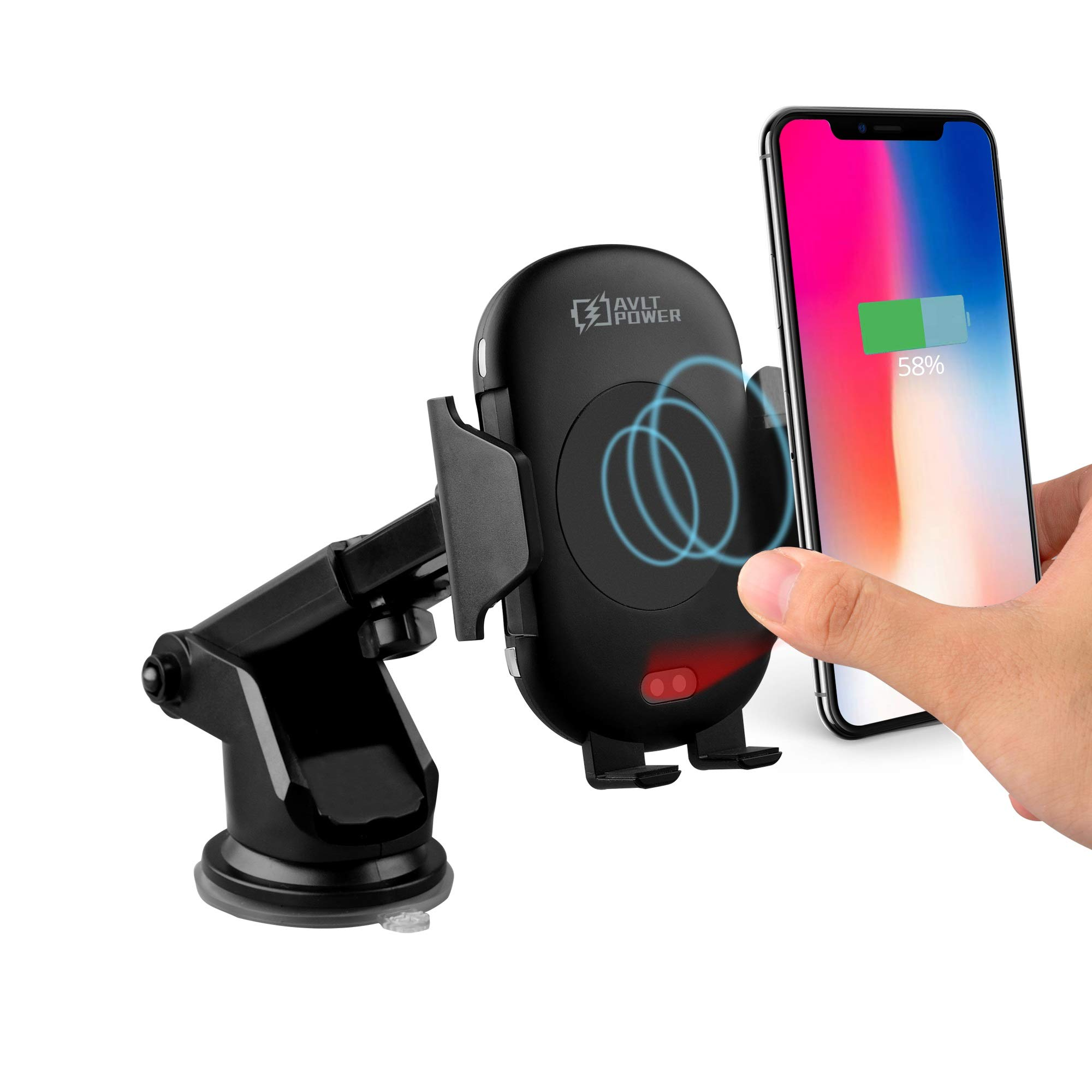 AVLT-Power Automatic 10W Qi Wireless Car Mount - Fast Wireless Charging Compatible with iPhone Xs MAX/XS/XR/X/8/8+ Samsung S10/S10+/S9/S9+/S8/S8+ by AVLT-Power
