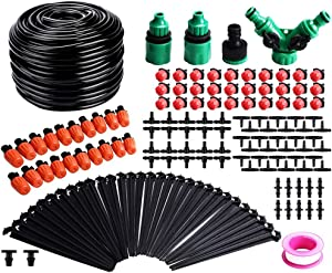 Garden Irrigation System,100ft /30M Micro Drip Irrigation Kit,DIY Plant Atomizing Nozzles Drippers Watering Drip Kit,Heavy Duty Tube Watering Tubing Hose Kit for Greenhouse,Flower Bed,Patio,Lawn