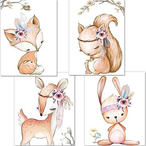 artpin® 4er Set Poster Kinderzimmer - A4 Bilder Babyzimmer - Deko Mädchen (P42)