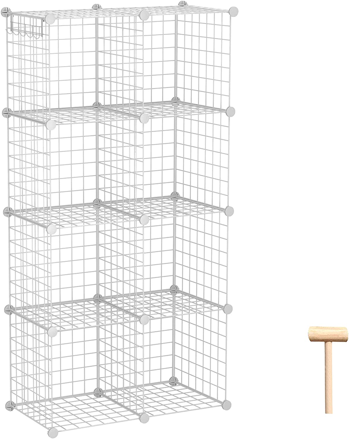 "C&AHOME Wire Storage Cubes, Metal Grids Book Shelf, Modular Shelving Units, Stackable Bookcase, 8 Cubes Closet Organizer for Home, Office, Kids Room, 24.8"" L x12.4 W x 48.4"" H White"