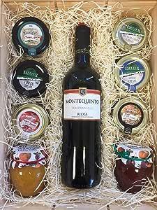 Estuche con vino Montequinto Rioja 75 cl, cremas de queso, patés y mermelada.: Amazon.es: Alimentación y bebidas