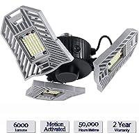 Éclairage LED de Garage, Lampe de Plafond Réglable 60W E26 / E27 pour Zone Complète de Garage, Ampoules avec Capteur de Mouvement pour Garage, Sous-sol, Atelier, Entrepôt, etc.