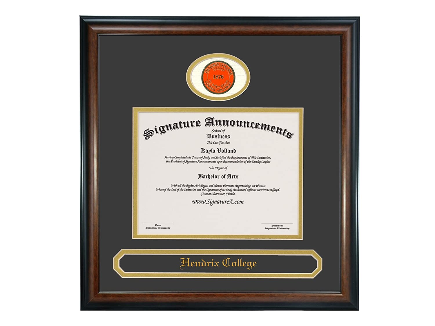 Signature Announcements Hendrix-College Doctorate Sculpted Foil Seal /& Name Graduation Diploma Frame 20 x 20 Matte Mahogany