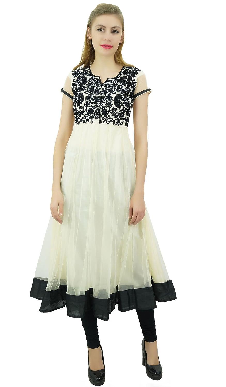 Bimba Women's Designer Anarkali Partywear Net Embroidered Dress