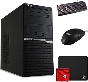 Acer Veriton M4660G VM4660G-I3810H1 Upgradable Desktop (Core i3 i3-8100, 4 GB RAM, 500 GB HDD, Windows 10 Pro 64-Bit, Black) Computer Bundle with Mouse Pad and Microfiber Cloth