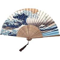 HEYJUDY Leque dobrável à mão para ventilador dobrável de seda Fuji Kanagawa Waves Ventilador de bolso dobrável japonês…