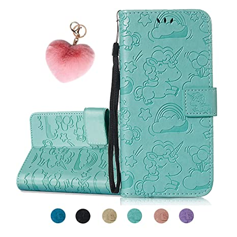 Kawaii-Shop Cartera de Cuero iPhone X Tapa para teléfono Unicorn Azul Claro Estilo de