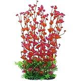 CNZ 水族箱装饰鱼缸装饰装饰仿真塑料植物绿色 Red, 16-inch