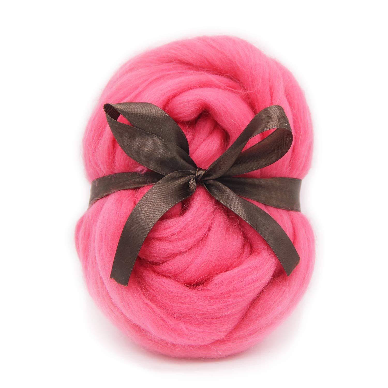 PALEPINK-3.5OZ DIY Craft Materials for Loom Weaving Merino Tapestry 2.2Yards Needle Felting Wool Roving Top