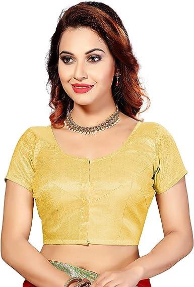 Hiral Designer Mall Choli Blusa y Blusa de Seda Choli Tops India Lista para Mujer Sari Choli - Dorado - 74 ES/XXL: Amazon.es: Ropa y accesorios