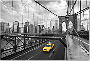 LevvArts - Modern Cityscape Canvas Wall Art,New York Yellow Taxi on The Brooklyn Bridge Picture Print on Canvas Painting,Framed and Ready to Hang