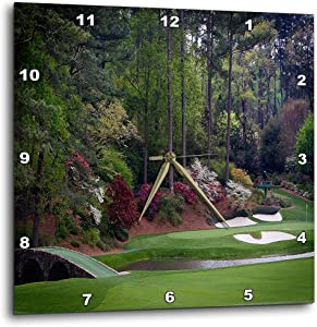 3dRose Augustas Amen Corner Golf Course - Golfers on Bridge - Wall Clock, 10 by 10-Inch (DPP_131410_1)