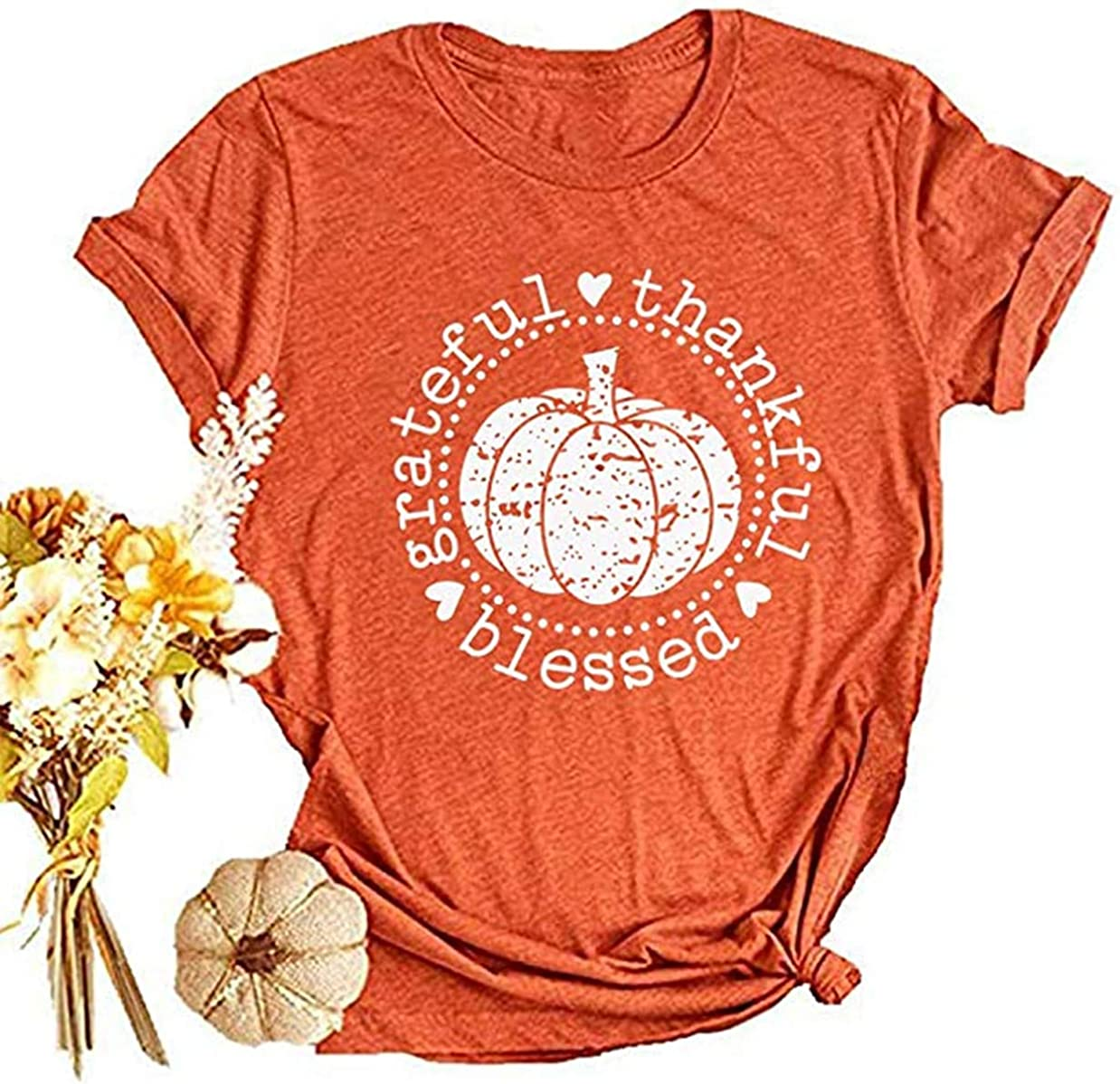 Beopjesk Womens Short Sleeve Thanksgiving Pumpkin Blessed Thanksful T Shirt Funny Casual Graphic Tees Tops