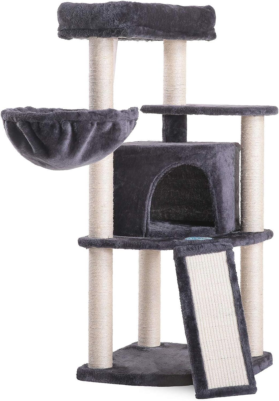 Hey-brother 103cm Árbol para Gatos, Rascadores para Gatos, Torre para Gatos, Cat Toy Centro de Actividad para Gatitos, con Cuna, Cueva, Plataforma ...