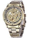 Alienwork Retro mechanische Automatik Armbanduhr Skelett Automatikuhr Uhr Herren Uhren vintage sport Metall bronze braun W9397-03