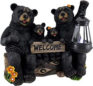Zeckos Beaming Bears Welcome Statue w/Solar LED Lantern