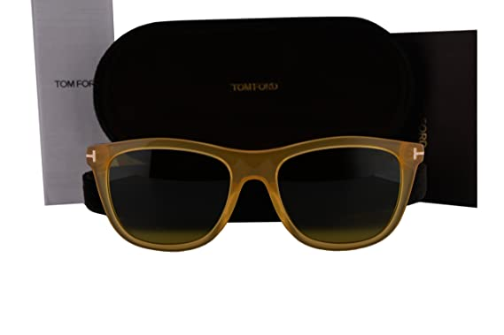 cab10df29a8 Amazon.com  Tom Ford FT0500 Andrew Sunglasses Yellow Crystal w Green ...