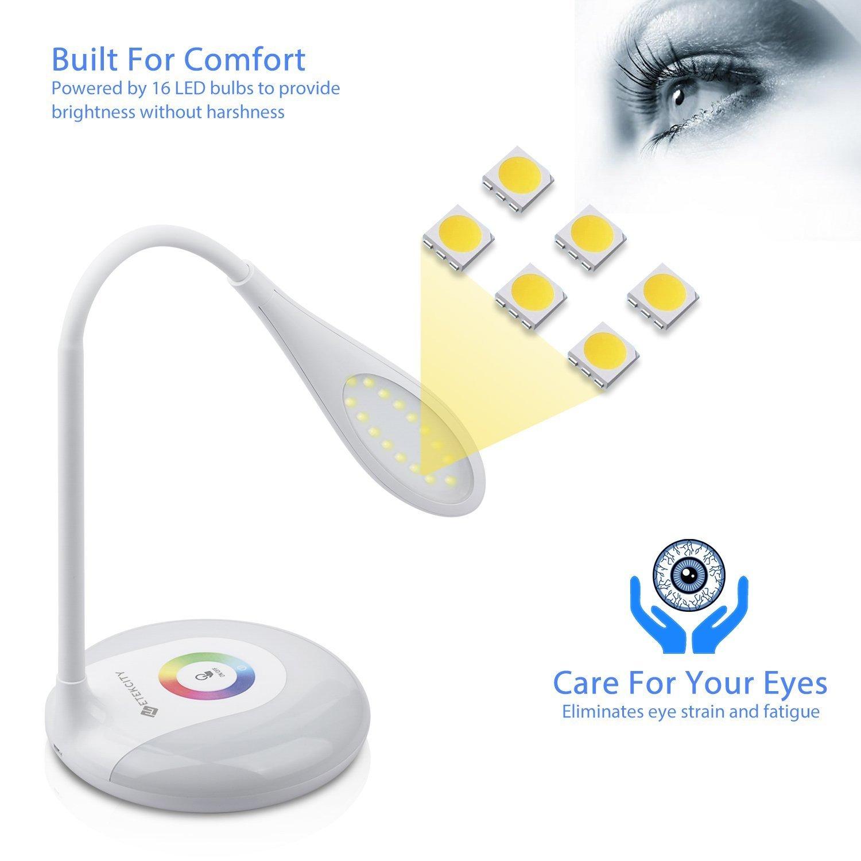 Etekcity LED Desk Lamp with Flexible Gooseneck Adjustable Brightness Level Night Light, 1000mAh Rechargeable Eye-caring Colorful Table Light with USB Port Touch Control (256 Base Color) by Etekcity (Image #4)