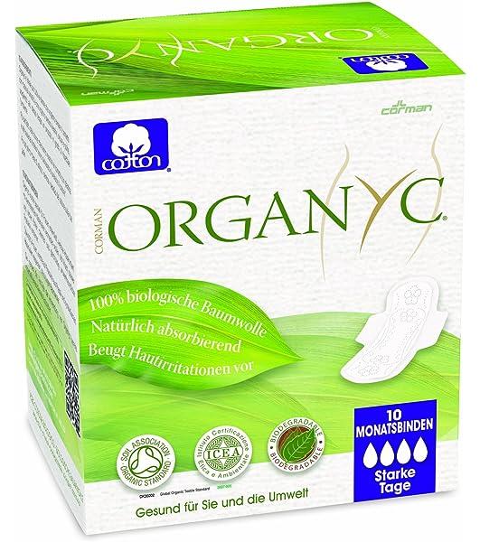 Organyc - Compresas de noche con alas - 100% Algodón Biológico - 4 ...