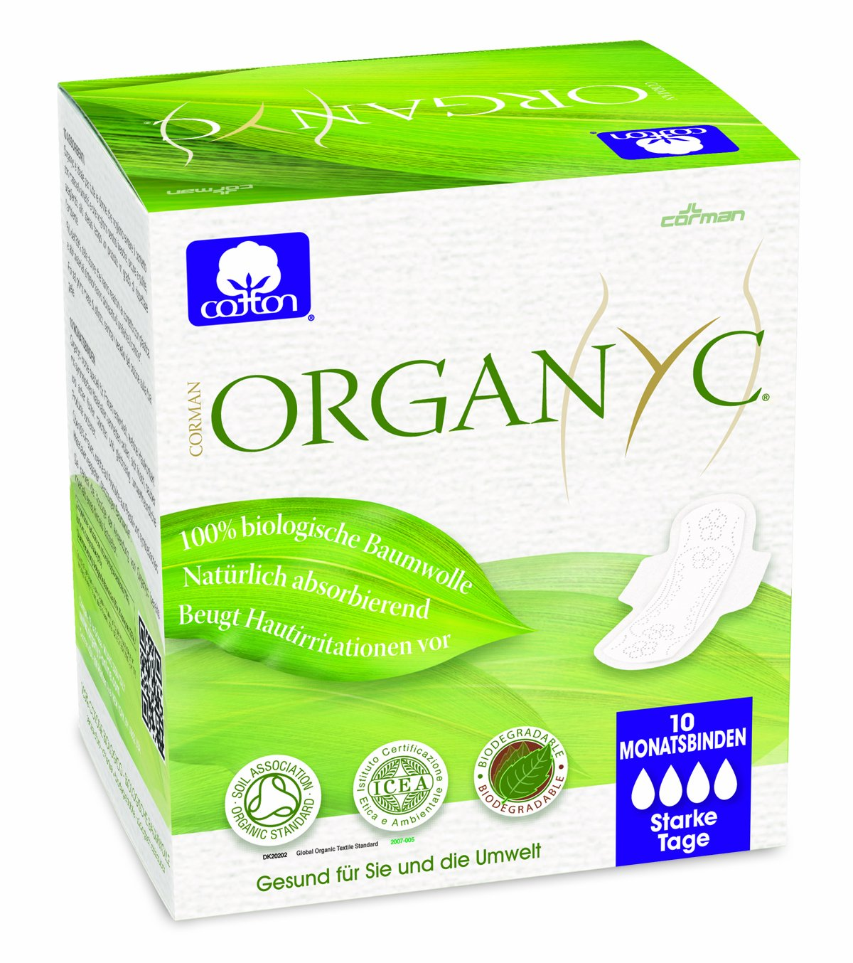 Organyc Night-Time Sanitary Towels with Wings - 100% Organic Cotton, 4-Pack (4 x 10) ORGST03AMA