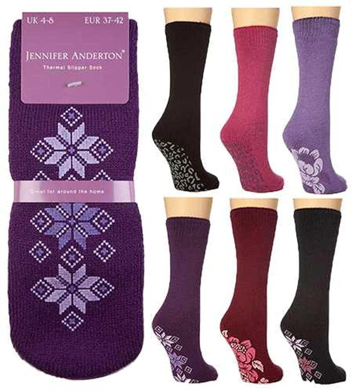 3X Pairs Women Ladies Girls Soft Warm Thermal Gripper Slipper Socks Bed Sock 4-8
