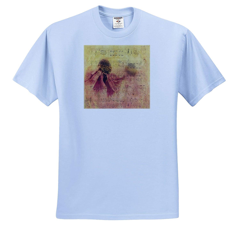 T-Shirts Musical Art Image of Large Flower On Vintage Music Sheet 3dRose Lens Art by Florene