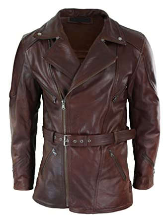 d53171afc6e Infinity Mens Cross Zip Belted Timber Brown 3 4 Motorcycle Biker Long  Leather Jacket CE